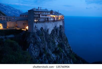 Simonos Petras Monastery Mount Athos, Greece, at night