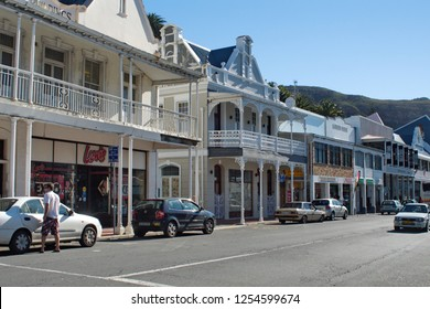SIMON'S TOWN, SOUTH AFRICA - CIRCA SEPTEMBER 2018: Historic buildings along the main road on the waterfront