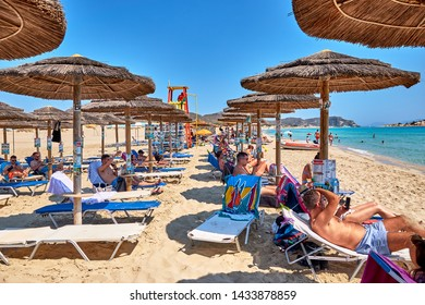 Simos, Elafonisos, Greece - June 2019: Scenic view of Elafonisos, a small Greek island between the Peloponnese and Kythira with idyllic exotic beaches and crystal clear waters. Laconia, Greece, Europe