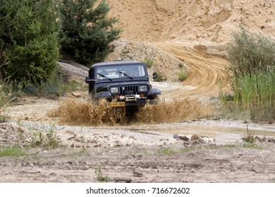 Simpelveld,Netherlands,Limburg,june 2016: members of a 4wd sportive off-road driving event in a sandwinning pit in the south of the Netherlands