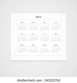 Simple 2015 calendar template isolated on white background. Landscape orientation.