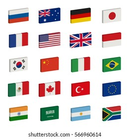Simple 3d flags icons of the G20 countries. Group of Twenty. Raster version