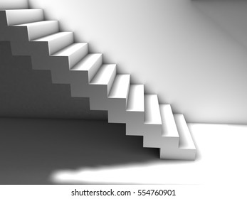 Simple 3D stair with light from above, as a metaphor or concept for personal growth and achievement. White material.