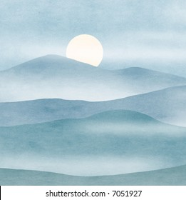 simple abstraction of full moon rising in mountains