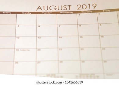 Simple August 2019 calendar. Week starts from Sunday