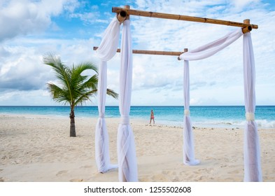 Simple Bamboo Gazebo on a Caribbean Beach Early in the Morning