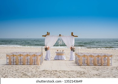 A simple beach wedding arch in Gulf Shores, Alabama
