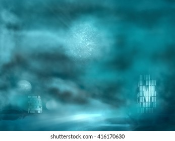 Simple beautiful surreal landscape with buildings windows light. Alien planet in the sky. 3D rendering