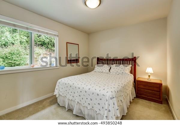 Simple Bedroom Interior Design Wooden Bed Stock Photo Edit Now 493850248