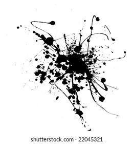 Simple black and white ink splat that is editable