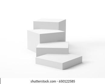simple box display or stairs. 3D rendering