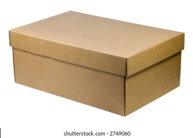 Simple box with lid closed, ready to customizing - isolated on white