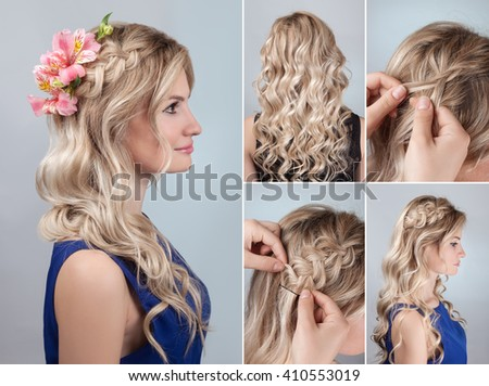 Simple Braided Hairdo Curly Hair Tutorial Stock Photo Edit Now