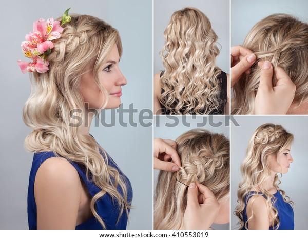 Simple Braided Hairdo Curly Hair Tutorial Stock Photo (Edit