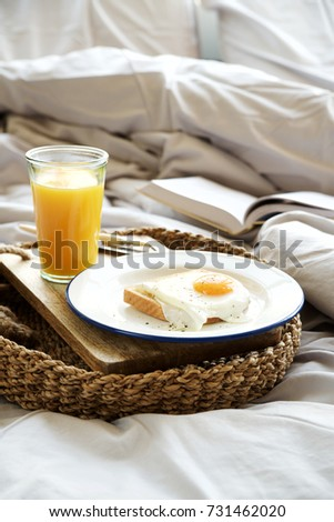 Simple Breakfast In Bed Fried Eggs With Orange Juice On Tray