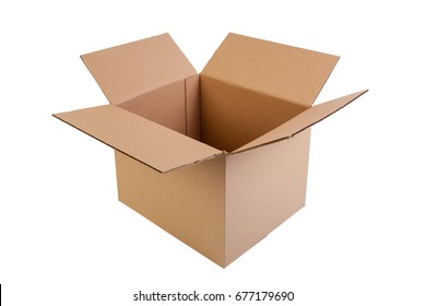 Simple brown, open and empty carton box, isolated on white