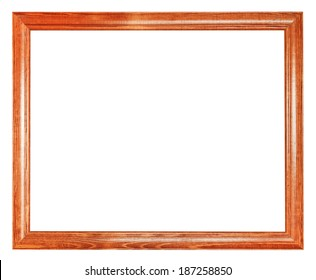 simple brown wooden picture frame with cut out canvas isolated on white background