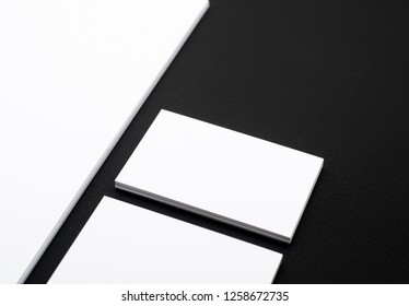 Simple business card design template on black background