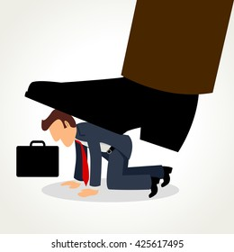 Simple cartoon of a businessman being crushed by giant feet, raster version