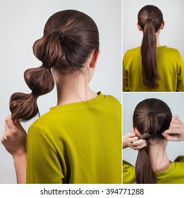 simple casual hairstyle for long hair pony tail with scrunchy tutorial