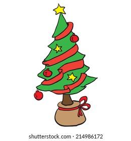 simple christmas tree cartoon