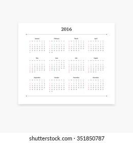 Simple clean calendar template for 2016. Landscape orientation.