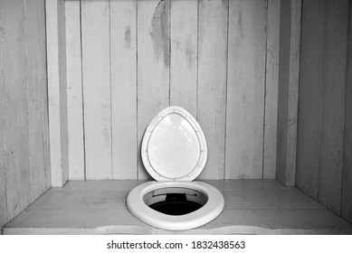 A simple clean rural toilet with a plastic seat in a wooden booth, life in the village.