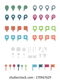 Simple Colorful Flat Map Pins and Elements. Isolated on White Illustration.