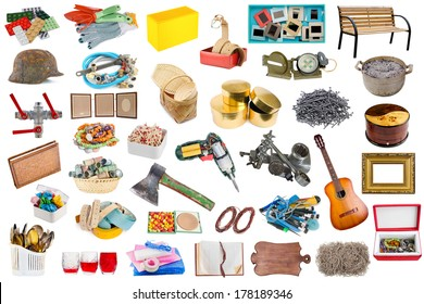 Simple common household objects and tools isolated set.