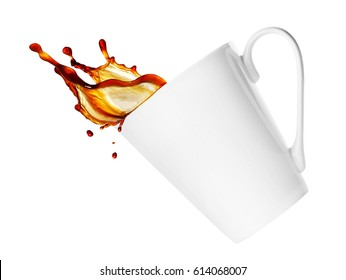 simple cup of coffee or tea with splash isolated on white background