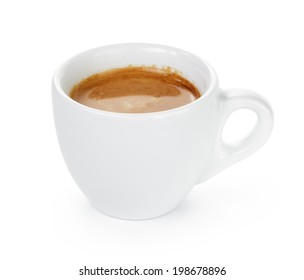 simple cup of double espresso in the cup, isolated on white