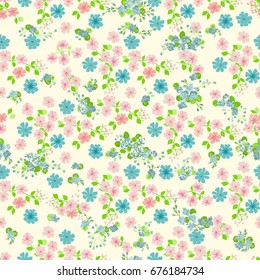 Simple cute pattern in small-scale flowers of maiden pink. Pretty millefleurs. Liberty style. Floral seamless background for dress, manufacturing, wallpapers, print, gift wrap and scrapbooking.