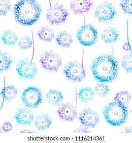 simple dandelion watercolor  background, seamless and repeatable