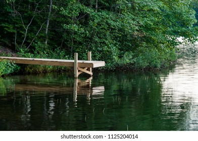 simple deck on the lake in Maine, New England, USA