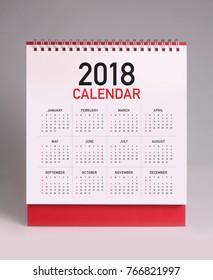Simple desk calendar for 2018