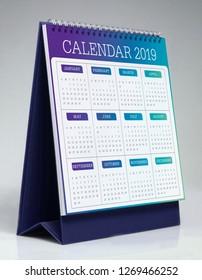 Simple desk calendar for 2019