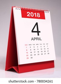 Simple desk calendar for April 2018
