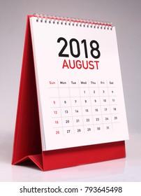 Simple desk calendar for August 2018