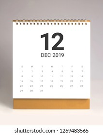 Simple desk calendar for December 2019