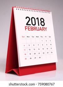 Simple desk calendar for February 2018