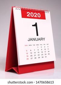Simple desk calendar for January 2020