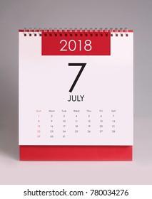 Simple desk calendar for July 2018