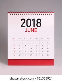 Simple desk calendar for June 2018