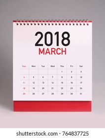 Simple desk calendar for March 2018