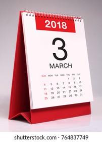 Simple desk calendar for March 2018