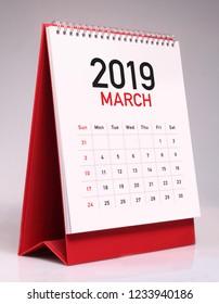 Simple desk calendar for March 2019