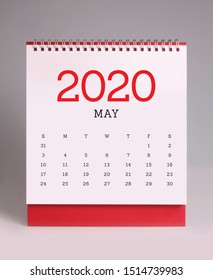 Simple desk calendar for May 2020