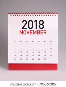 Simple desk calendar for november 2018