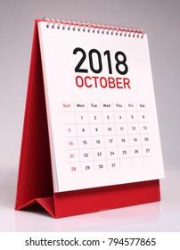 Simple desk calendar for October 2018
