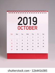 Simple desk calendar for October 2019